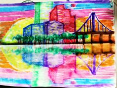smART Class: perspective landscapes reflection  The you spray water on the WHITE part of the paper and fold to print This works best on regular zerox copy paper. First look at  Then draw the smallest buildings first so they can overlap the larger ones. They use a yellow crayon for the windows, stars, and fireworks, then color over them with marker to make a crayon resist when printed