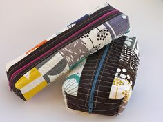 Two #Patchwork Boxed Pouches - free sewing tutorial! A great place to try out some #quilting, and they're great for gifts, #sewing notions, and more!