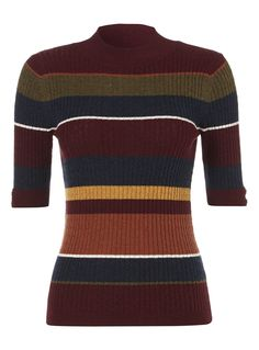 Perfect for easy layering, this striped jumper features a ribbed design and a…