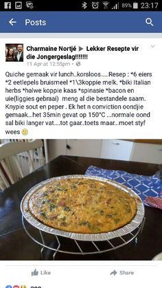 South African Recipes, Afrikaans, Quiche, Cake Recipes, Bacon, Herbs, Traditional, Cooking