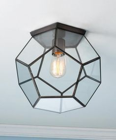 Clear Glass Prism Pentagon Ceiling Light Geometric pentagon panels of clear glass create eye-catching style on your ceiling that updates every dcor. Ceiling Light Shades, Ceiling Light Design, Ceiling Lights, Lighting Shades, Ceiling Chandelier, Modern Ceiling, Glass Ceiling, Ceiling Ideas, Flush Mount Ceiling