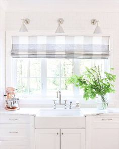 This Gorgeous Buffalo Check Roman Shade Transformed Monika Hibbsu0027 Kitchen  Window! Natural, Classic, Functional   This Shade Is Great For Any Style Of  Room!