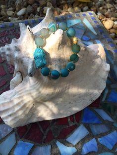 13mm Ombre Blue Aura Quartz Beaded Bracelet with by ParvatiBeads