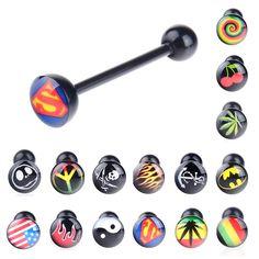 Black Soft Logo Designed Tongue Ring labret ring Noctilucent Acrylic Tongue  Nipple Bar Ring Barbell Body Piercing BC120 YT  Material  Acrylic Length  . 5c477f70b15c
