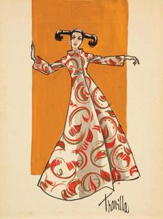 William Travilla costume sketch for Valley of the Dolls