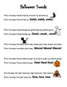 Poem Free Printable Halloween Poem - great for fluency practice and drama.Free Printable Halloween Poem - great for fluency practice and drama. Halloween Sounds, Halloween Music, Halloween Kids, Halloween Songs For Toddlers, Halloween Rhymes, Halloween Preschool Activities, Halloween Night, Happy Halloween, Preschool Music