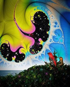 """""""Star Birds by the Sea"""" by @larrycarlson Tags: #art#painting#goodvibes#wallpaper#visionaryart#drawing#color#acid#lsd#weed#psychedelic#trippy#techno#house#edm#trance#420#maconha#tatoo#fractals#paint#love#beautiful#amazing#style#repost#cool#photo#photography#follow by sharp.leaf"""