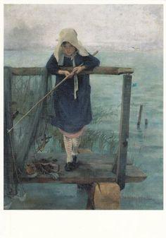 Girl Fishing, 1884 by Helene Schjerfbeck on Curiator, the world's biggest collaborative art collection. Helene Schjerfbeck, Pin Ups Vintage, Images D'art, Gauguin, Mary Cassatt, Scandinavian Art, Nordic Art, Chur, Fishing Girls