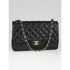 Pre-owned Chanel Black Quilted Lambskin Leather Classic Jumbo Double... ($3,995) ❤ liked on Polyvore featuring bags, handbags, chanel bags, quilted chain purse, quilted handbags, pre owned purses and quilted chain bag