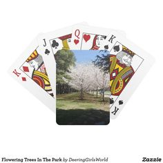 Flowering Trees In The Park Playing Cards