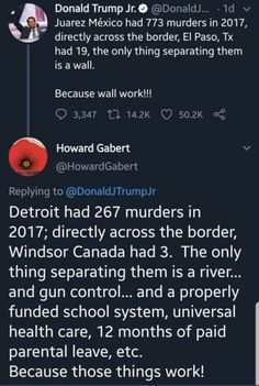 Don Jr. claimed the border wall would lower murder rates and promptly got murdered by words. Donald Trump Jr, Equal Rights, Faith In Humanity, Social Issues, Social Justice, Food For Thought, Equality, Decir No, Fun Facts