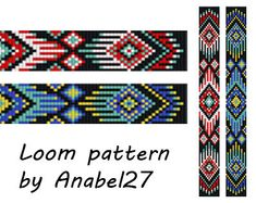 Pattern made with size Miyuki Delica seed beads Approx width: columns) Approx length: rows) Technique: Loom or Square Loom Bracelet Patterns, Seed Bead Patterns, Bead Loom Bracelets, Peyote Patterns, Weaving Patterns, Stitch Patterns, Peyote Bracelet, Knitting Patterns, Crochet Patterns