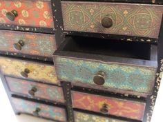multi colour  mini Vintage Cabinet 12 Drawers Retro style Storage Chest