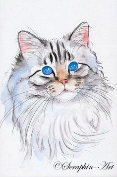 2011-06-181 Katze Aquarell Zeichnung