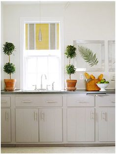 Roller shades! Great idea for kitchen window treatment.