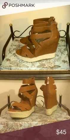 Wedges Really nice BCBG generation stacked wedge strappy brown leather rope bottom BCBG generation Shoes Platforms