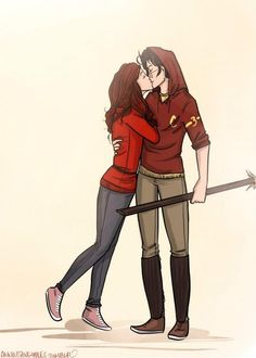 Ginny and Harry. Potters really like redheads, don't they... ^^^ Pinning for the description