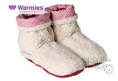 Плюшени нагряващи се и охлаждащи се ботуши шерпа бежово-червено (37-42)от Warmies