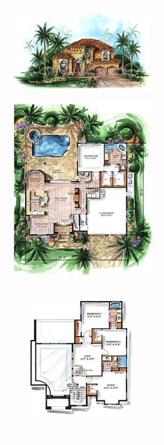 Luxury House Plan 60536 | Total Living Area: 3051 sq. ft., 4 bedrooms and 3.5 bathrooms. #luxuryhome