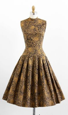 vintage 1950s dress / 50s dress / Black and Mustard Floral Print Dress and Jacket Set by Jonathan Logan. $424.00, via Etsy