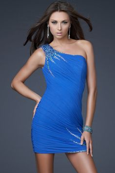 Sheath/Column One Shoulder Chiffon   Prom Dress With Beadings