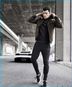 Tapping into a sporty aesthetic, Sean O'Pry steps out in HUGO by Hugo Boss.