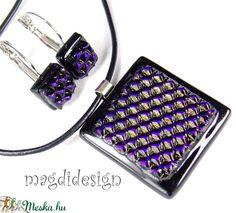 Dimenzió fekete-kék csillogás üvegékszer szett nyaklánc kapcsos fülbevaló (magdidesign) - Meska.hu