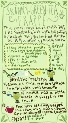 Easy 60 calorie Green Tea Frappe! Imitation Starbucks Green Tea Créme, but with 200 less calories? Yes please! Adapted from http://www.myfitnesspal.com/topics/show/517684-skinny-oreo-cookies-and-cream-milkshake