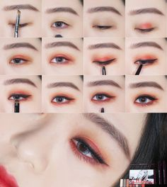 Do you like this reddish-orange eye make-up? - Make Up Ideen - Eye Make up Korean Makeup Look, Korean Makeup Tips, Korean Makeup Tutorials, Korean Makeup Ulzzang, Ulzzang Makeup Tutorial, Eyeshadow Tutorials, Asian Make Up, Korean Make Up, Eye Make Up