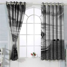hengshu Ocean Decor Blackout Shades Curtains Picture of a Dated Wooden Boat on Rocky Beach and Stormy Clouds in The Sky Air Image for Window Curtains Valances x Inch Grey