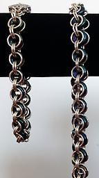 Silver and Blue 2 in 2 Chainmaille Necklace and Bracelet Set Chainmaille Necklace and Bracelet