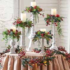 Winter Berry Candle Rings, Set of Five Artificial fir tree as Christmas decoration? A synthetic Christmas Tree or perhaps a real one? Christmas Mantels, Christmas Door, Outdoor Christmas, Christmas Wreaths, Christmas Crafts, Christmas Ornaments, Christmas Ideas, Christmas Snowman, Christmas Chandelier