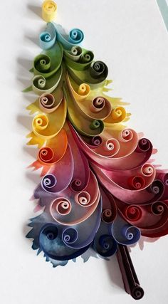 Your place to buy and sell all things handmade Watercolor Christmas Tree Greeting Card, Quilling Greeting Card, Rainbow Christmas Tree, Multicolor Diy Quilling, Paper Quilling Tutorial, Paper Quilling Flowers, Paper Quilling Cards, Quilling Work, Paper Quilling Patterns, Quilled Paper Art, Paper Paper, Paper Quilling For Beginners