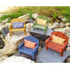 Rainbow Bench with Believe Pillow 2 piece set Fairy Garden Miniature Furniture - Baby Feathers Gift Shop