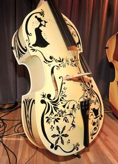 One of the instruments at Disney's and The Grammy Foundation's unveiling of 5 unique hand painted upright basses designed by Walt Disney Ani...
