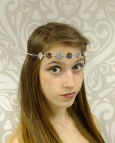 Iridescent Purple and Silver Circlet Boho Chic by RuthNoreDesigns