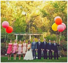 Ombre bridesmaids and giant balloons. Two of my favourite things!