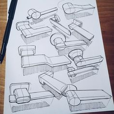 Sketches we like / Pencil Sketch / paper / Analog / Pen + Paper on Behance Structural Drawing, Technical Drawing, Cool Sketches, Drawing Sketches, Drawings, Interior Design Sketches, Sketch Design, Parametrisches Design, Pen & Paper