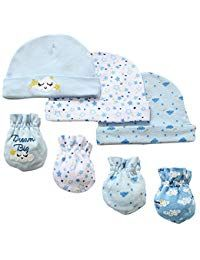 032c70d8ae9 7 Piece Scratch Mittens and Caps Set Infant Newborn Gift Set For Baby Boys