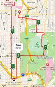 Jogging route through Hillcrest and Balboa Park.