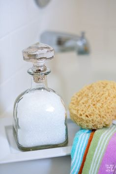 How to repurpose a Patron bottle into a pretty bottle with a crystal top to hold bath salts