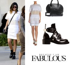 Shop Celebrity Closet: Kylie Jenner Chloe Diamond Lace Tunic Dress, Balenciaga Classic Leather Bowling Bag & Buckle Strap Ankle Boot - http://www.becauseiamfabulous.com/2014/02/kylie-jenner-chloe-diamond-lace-tunic-dress-balenciaga-classic-leather-bowling-bag/
