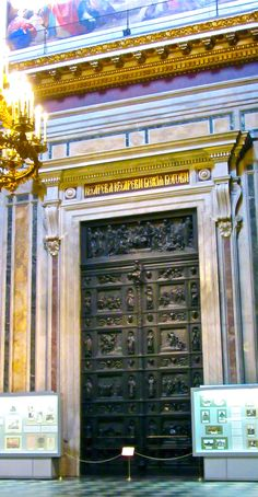 St.Isaac Cathedral doors from the interior, St.Petersburg,Russia - a UNESCO World Heritage Site