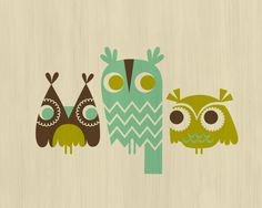 Owls Mint, Olive and Brown Giclee Print, available April 2012 in my Etsy shop.