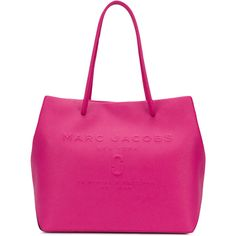 Marc Jacobs logo East-West tote (£270) ❤ liked on Polyvore featuring bags, handbags, tote bags, unavailable, marc jacobs tote, shopper tote, leather tote handbags, pink tote bags and leather purses