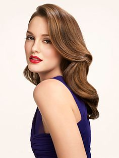 Leighton Meester. Long hair, big waves. THE PERFECT MAKEUP AND HAIR FOR A WEDDING