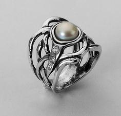 Shablool Didae Israel Silver Ring, Pearl Ring, Black Pearl, Sterling Silver Ring, Jewelry
