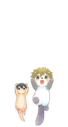 Illustration that can move upward on your Phone screen ... From mako_rakko ... Free! - Iwatobi Swim Club, free!, iwatobi, makoto tachibana, makoto, tachibana, sea otter, haruka nanase, haru nanase, haru, haruka, nanase, river otter