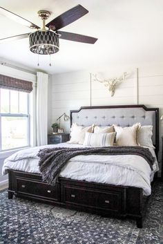 Rustic Modern Master Bedroom Reveal + Sources | blesserhouse.com - A plain white, boring builder grade space gets a rustic modern master bedroom makeover using DIY home improvement tricks and decor shopping on a budget. popular pin