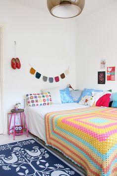 Bedroom with crochet blanket